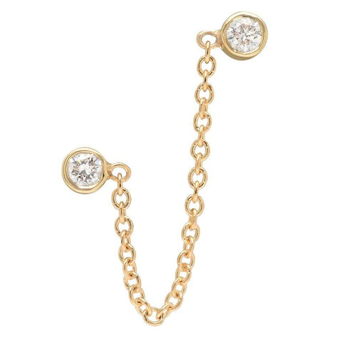 double diamond bezel chain loop earring 14K yellow gold jewelry