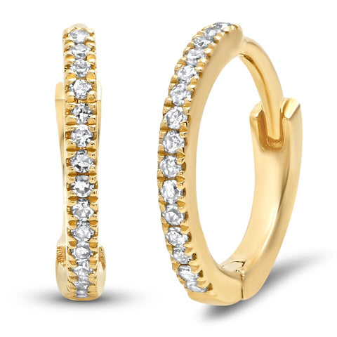 mini classic diamond huggies earrings 14K yellow gold sachi fine jewelry