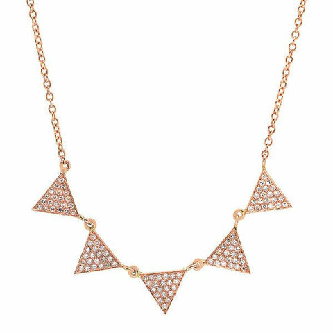 multi triangle drop diamond necklace 14K rose gold sachi jewelry