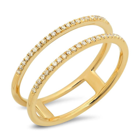 double spiral ring diamond 14K yellow gold jewelry