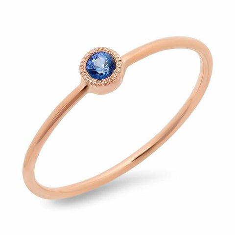 dainty bezel sapphire ring 14K rose gold stacking sachi jewelry
