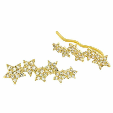 five star diamond ear crawlers earrings 14K yellow gold sachi jewelry