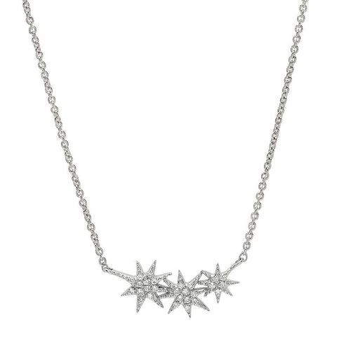 delicate triple starburst diamond necklace 14K white gold sachi jewelry