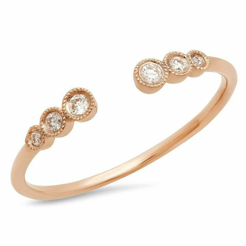 triple bezel cuff diamond ring 14K rose gold sachi jewelry