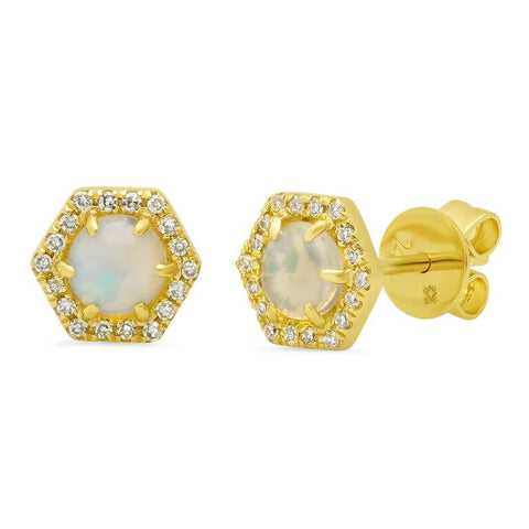 hex opal studs diamond earrings 14K yellow gold jewelry