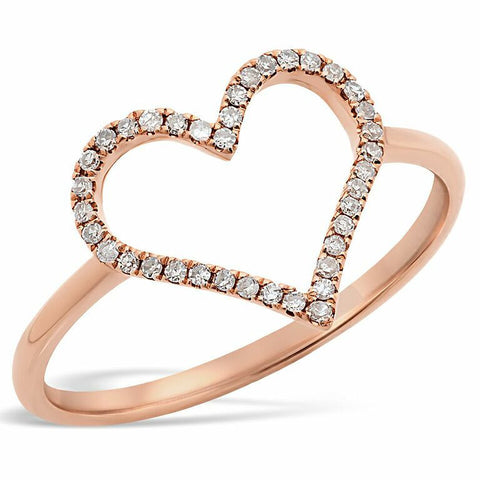 delicate dainty open heart diamond ring 14K rose gold sachi jewelry