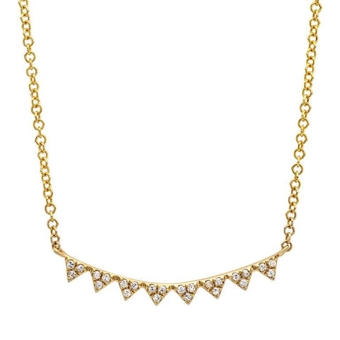 mini triangle curve diamond necklace 14K yellow gold sachi jewelry