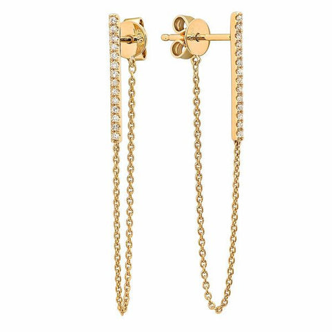 delicate micro bar chain earrings 14K yellow gold sachi jewelry