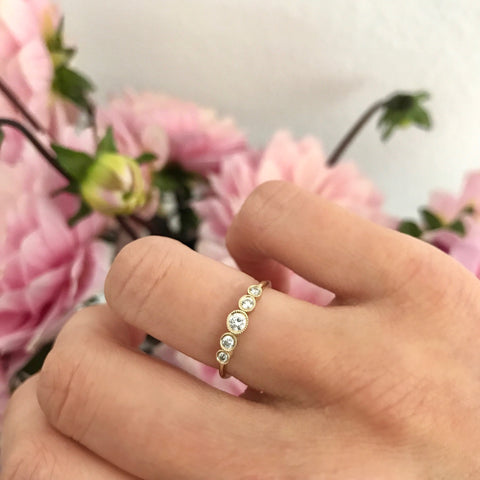 5 diamond graduated 14K solid gold delicate sachi fine jewelry stacking ring