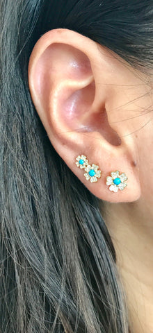 turquoise diamond studs earrings 14K gold sachi jewelry