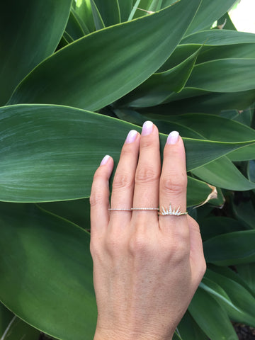 diamond crown ring jamie chung delicate dainty sachi 14k gold jewelry