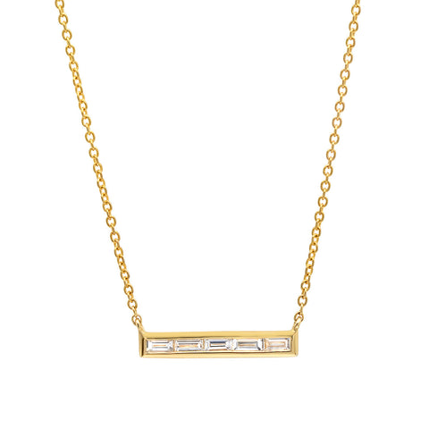 baguette diamond bar necklace sachi dainty delicate jewelry