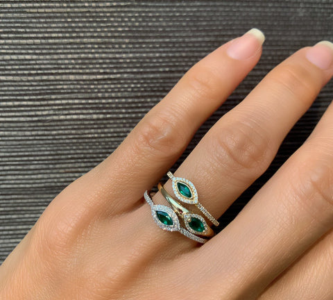 Marquise Emerald Diamond Ring