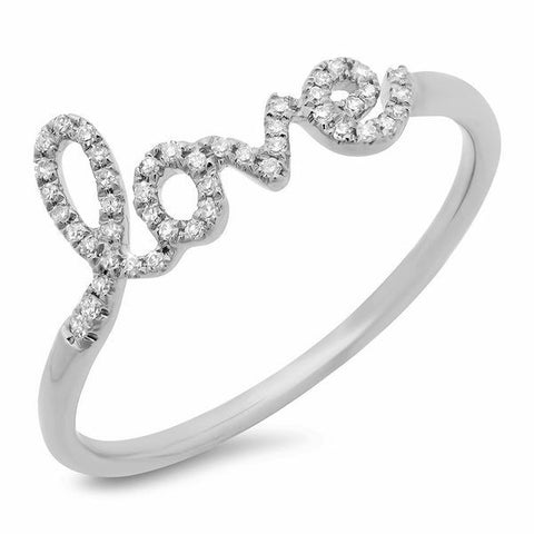 delicate love diamond ring 14K white gold jewelry