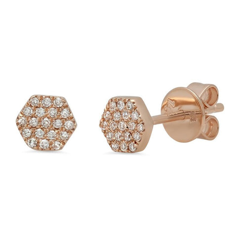 mini hexagon pave diamond studs earrings 14K rose gold sachi jewelry