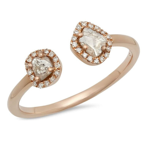 sliced diamond cuff ring 14K rose gold sachi jewelry