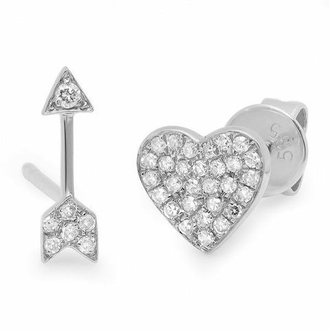 heart arrow studs earrings diamond 14K white gold sachi jewelry