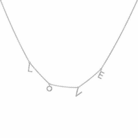 delicate dainty love diamond necklace 14K white gold sachi jewelry