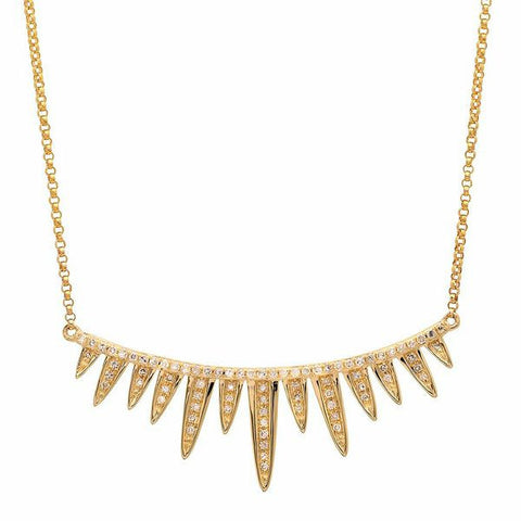 spiked bar diamond necklace 14K yellow gold sachi jewelry