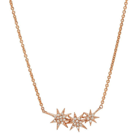 delicate triple starburst diamond necklace 14K rose gold sachi jewelry