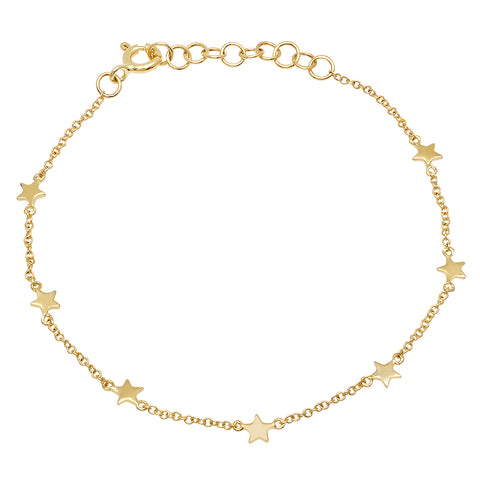 dainty delicate multi star station bracelet 14K yellow gold sachi jewelry