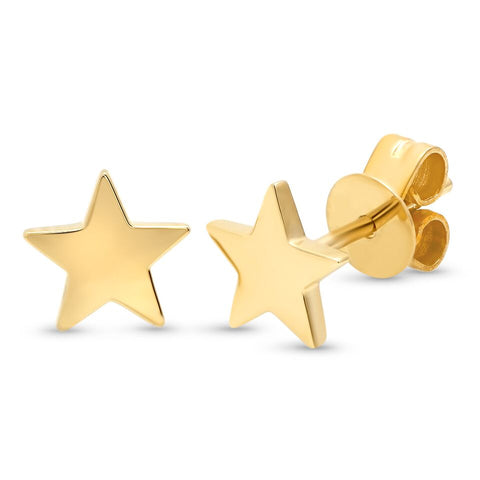 plain star studs earrings 14K yellow gold sachi jewelry