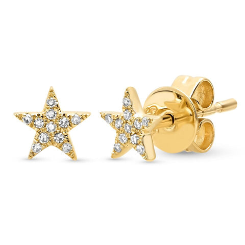 mini micro diamond star studs earrings 14K yellow gold sachi jewelry