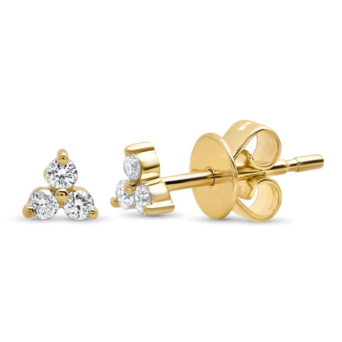 dainty trio diamond studs earrings 14K yellow gold sachi jewelry