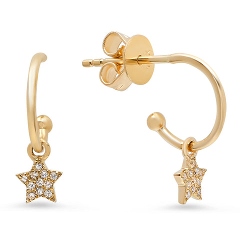star charm diamond hoops earrings 14K yellow gold sachi jewelry