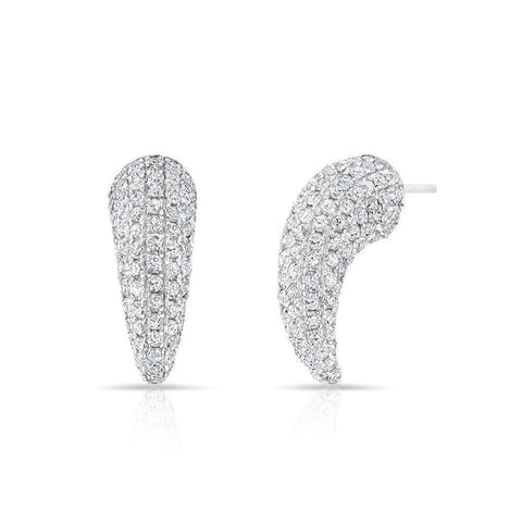Mini Claw Pave Diamond Earrings 14K White Gold