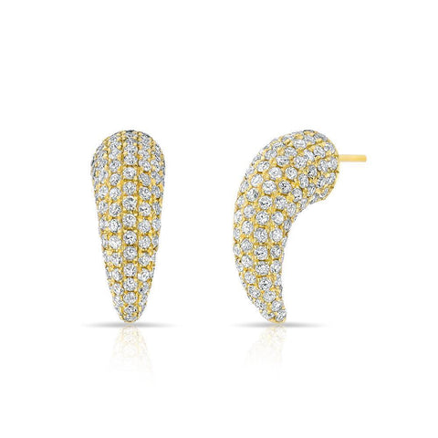 Mini Claw Pave Diamond Earrings 14K Yellow Gold