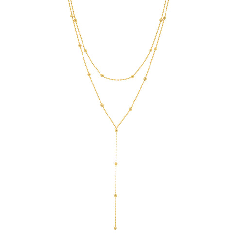 14K gold beaded double loop lariat adjustable necklace sachi jewelry hip