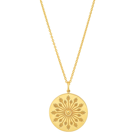 14K gold engraved flower disc pendant necklace sachi jewelry earthy