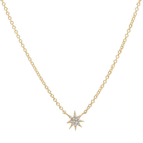 delicate dainty mini starburst diamond necklace 14K yellow gold sachi jewelry