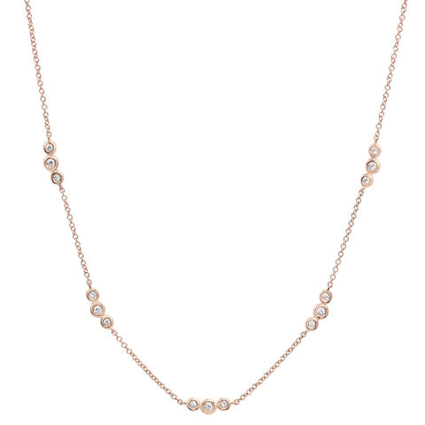 delicate dainty triple bezel station diamond choker necklace 14K rose gold sachi jewelry