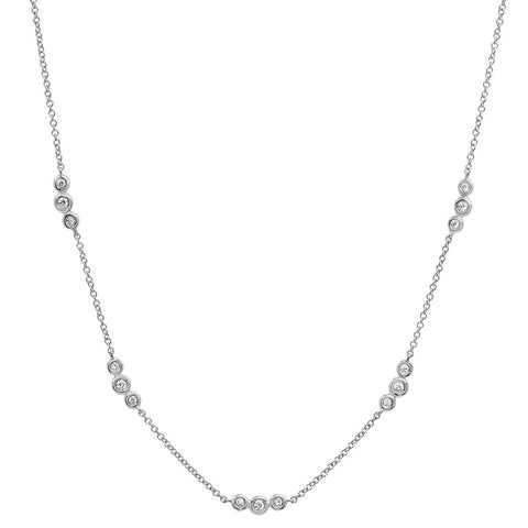 delicate dainty triple bezel station diamond choker necklace 14K white gold sachi jewelry