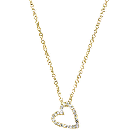 Leaning Open Heart Diamond Necklace