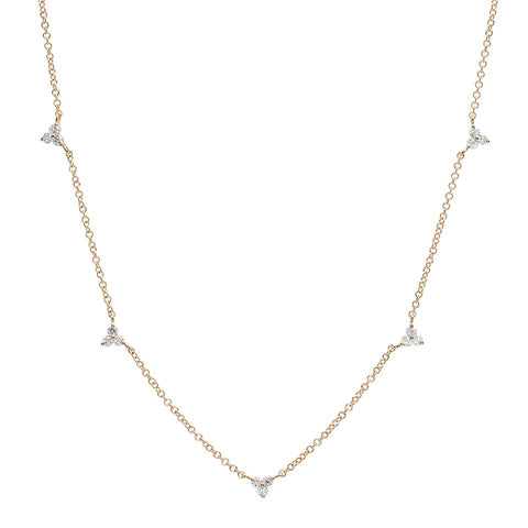 delicate dainty triple prong diamond station necklace 14K yellow gold sachi jewelry