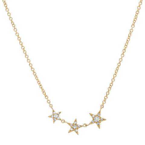 Ascending Star Diamond Necklace 14K delicate dainty sachi
