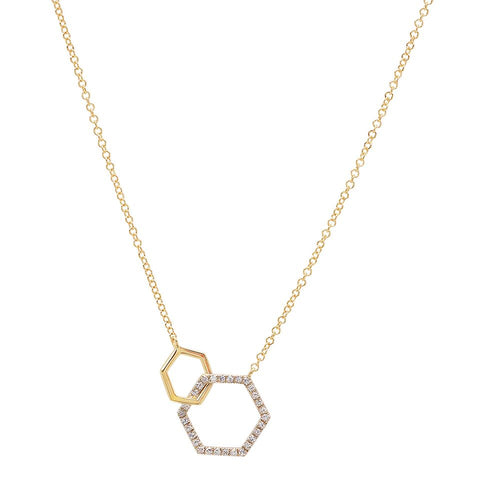Sachi Hex architectural Linking Diamond Necklace 14K yellow gold sachi jewelry