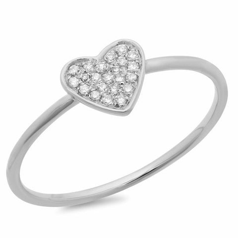 delicate pave heart diamond ring 14K white gold sachi jewelry
