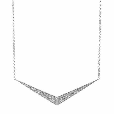 wide chevron diamond necklace 14K white gold sachi jewelry