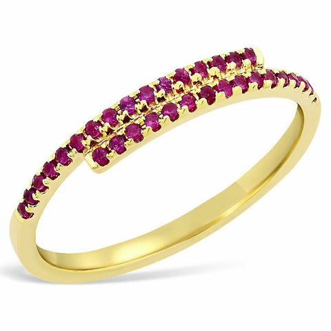 east west ruby spiral stacking ring 14K yellow gold sachi jewelry