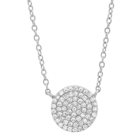 disc diamond station classic necklace 14K white gold sachi jewelry