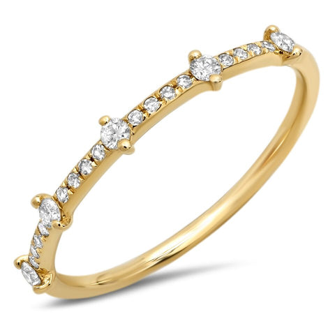 delicate station diamond ring 14K yellow gold sachi jewelry