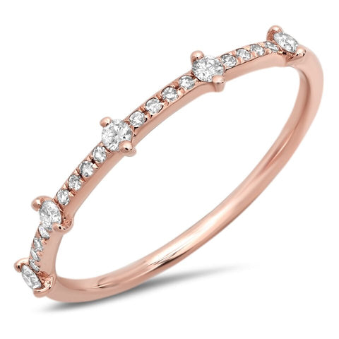 delicate station diamond ring 14K rose gold sachi jewelry
