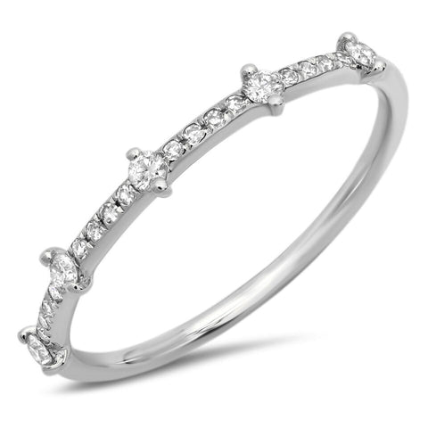 delicate station diamond ring 14K white gold sachi jewelry