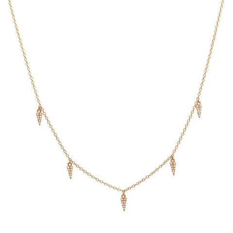 delicate dainty mini daggers drop diamond necklace 14K rose gold sachi jewelry
