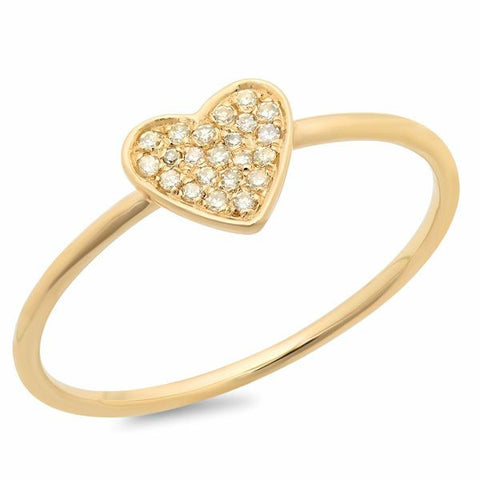 delicate pave heart diamond ring 14K yellow gold sachi jewelry