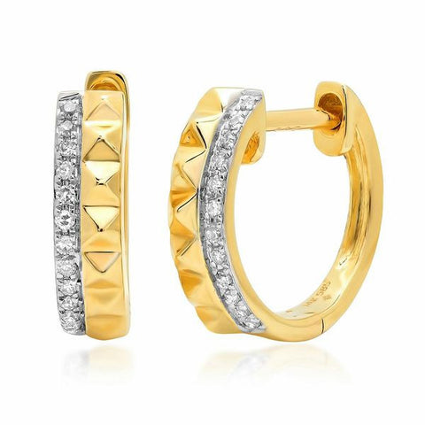 diamond spike huggies earrings 14K yellow gold jewelry